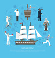 old sailboat sailor composition retro vector image vector image
