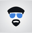portrait man in ivy cap and blue sunglasses vector image vector image