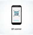 qr code scanning with a mobile phone vector image vector image