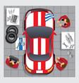 repairs car in garage vector image vector image