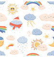 seamless weather pattern with cute smiling faces vector image vector image
