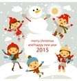 set of characters funny kids winter snow 2015 vector image vector image
