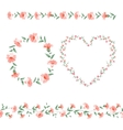 Set of flower frames vector image vector image