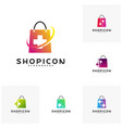 set of health plus shop logo template design vector image