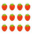 set strawberry emotions face set strawberry vector image