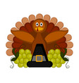 turkey grapes and a pilgrim hat vector image vector image