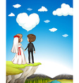 Wedding couple standing on cliff vector image