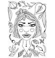 hand-drawn dreamlike girl portrait vector image