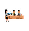 asian receptionists at hotel reception desk vector image vector image