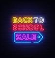 back to school sale neon sign vector image
