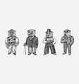 bear in vintage costume with beer fashion animal vector image