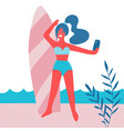 beautiful girl making selfie with surf board vector image
