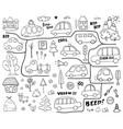 cars cartoon set cute transport doodles collection vector image