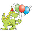 Cartoon dinosaur holding balloons vector image vector image