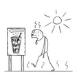 cartoon man thirsty exhausted man walking in vector image