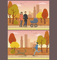 couple in love with pram family park set vector image vector image