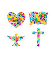 cross bible heart and dove vector image vector image