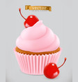 cupcake with cherry 3d realistic icon vector image vector image