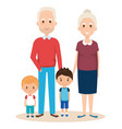 cute grandparents couple with grandchildren vector image vector image