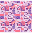 cute seamless pattern with road houses and trees vector image