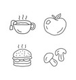 delicious lunch linear icons set tasty breakfast vector image vector image