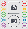 Digital photo camera icon sign symbol on the Round vector image vector image