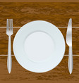 empty plate fork and knife on the wood background vector image vector image