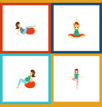 flat icon pregnancy set of lady pose yoga and vector image vector image