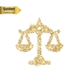 Gold glitter icon of scales isolated on vector image