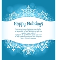 Happy holidays blue background with snowflakes vector image vector image
