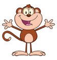happy monkey cartoon character with open arms vector image vector image