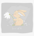 hare with a flower vector image vector image