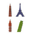 hystorical tower icon set color outline style vector image vector image