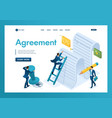 isometric study text agreement by vector image