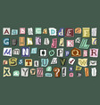 journal cut letters and symbols set colorful vector image