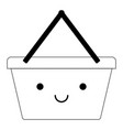 kawaii shopping basket in black dotted silhouette vector image vector image