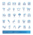 linear birthday icons set with reflection vector image vector image