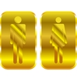 Man and Woman restroom golden signs vector image vector image