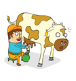 Man milking cow vector image