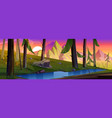 mountain landscape with forest and brook at sunset vector image