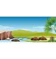 Nature scene of the river and field vector image