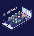 people reading books through mobile app isometric vector image