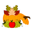 pumpkin with grapes and an apple vector image vector image
