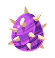 purple spiky egg with stripes fantastic natural vector image vector image