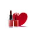 red lipstick with 3d realistic heart lipstick vector image