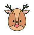 reindeer head character merry christmas vector image vector image