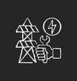 repairing power lines chalk white icon on black vector image