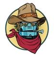 Robot cowboy West wild world vector image