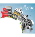 rome italy city skyline with color buildings blue vector image vector image