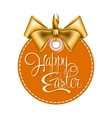 Round label with gold bow vector image vector image